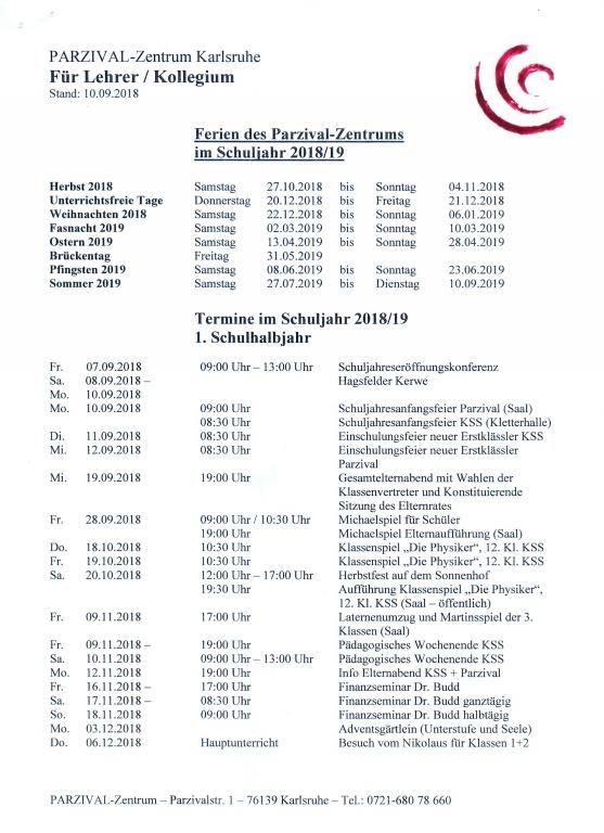 Ferien Im Schuljahr 20182019 Parzival Schulen Parzival Schulen